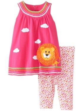 Toddler Girls 2T-4T U-Neck Lion Applique Knit Dress/Legging Set [BNJ02403]