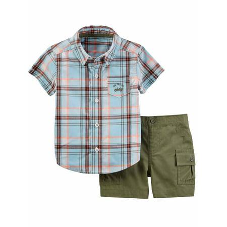 Carters Infant Boys 2-Piece Blue/Olive Plaid Woven Shirt & Short Set 3m