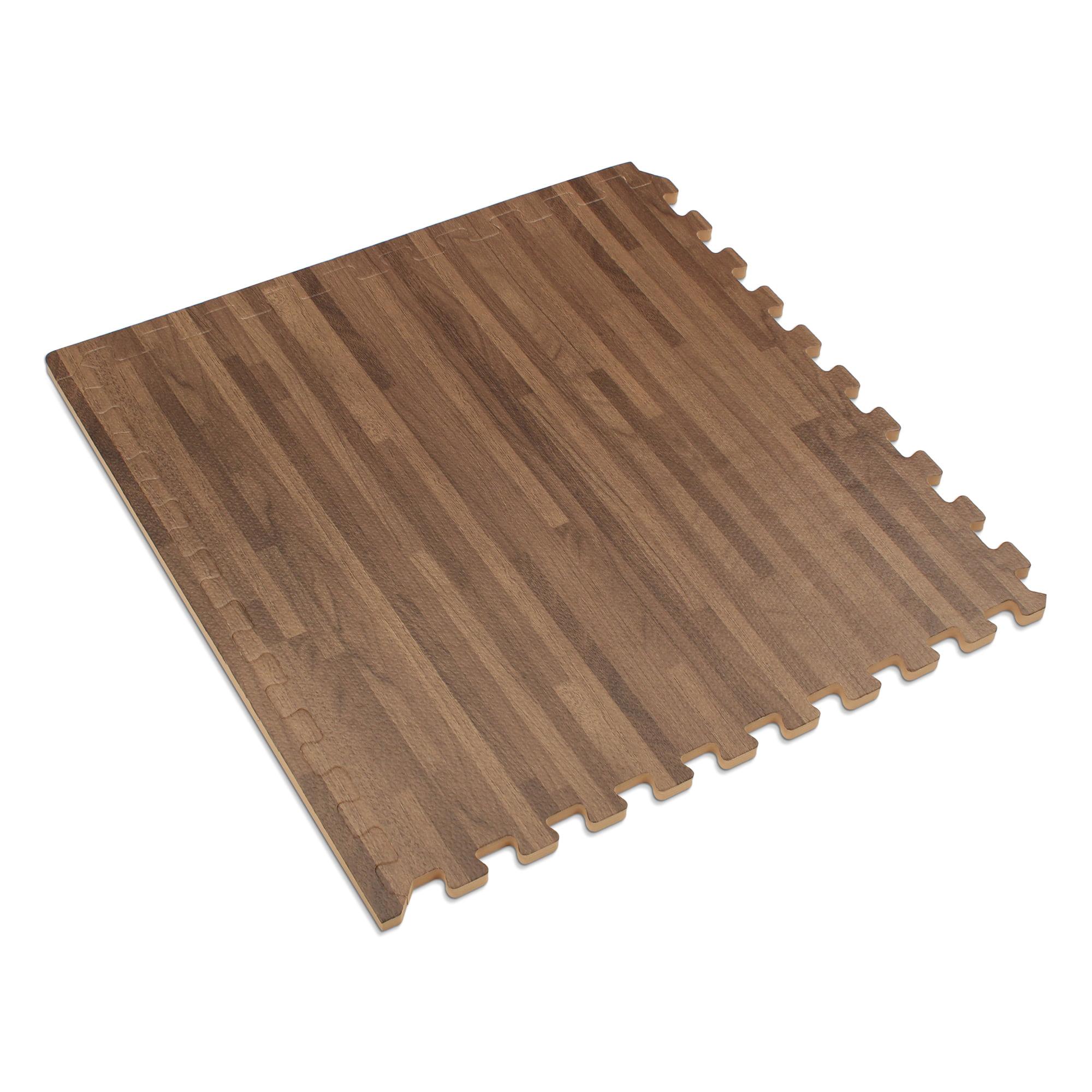 "Forest Floor 5/8"" Thick Printed Wood Grain Interlocking Foam Floor Mats, 16 Sq Ft (4 Tiles), Walnut - Walmart.com"