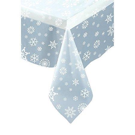 Christmas Tablecloths And Napkins (Plastic Clear Snowflake Christmas Tablecloth, 7ft x 4.5ft by Unique)