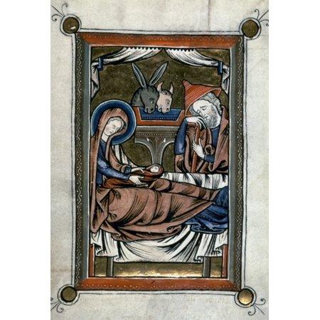 Nativity Illumination Nfrom A Flemish Latin Psalter Late 13Th Century Rolled Canvas Art -  (24 x 36) (Illumination Lace)