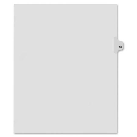 80000 Series Side Tab Legal Exhibit Index Divider   Printed Tab S    Digit   58   8 50   Divider Width X 11   Divider Length   Letter   White Divider   25   Pack