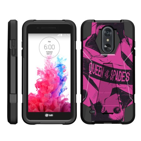 TurtleArmor ® | For LG Aristo 2 | LV3 (2018) | K8 (2018) | Fortune 2 | Tribute Dynasty [Dynamic Shell] Dual Layer Hybrid Silicone Hard Shell Kickstand Case - Queen of (Wheel Of Fortune Slot Machine Las Vegas)