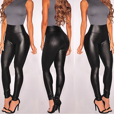 New Fashion Women PU Leather Black High Waist Leggings Stretch Skinny Pants Slim Ankle-Length Legging Hot Size (Pu Women Leggings)
