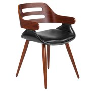 Flash Furniture Contemporary Walnut Bentwood Side Reception Chair with Cross Stitched Black LeatherSoft Seat