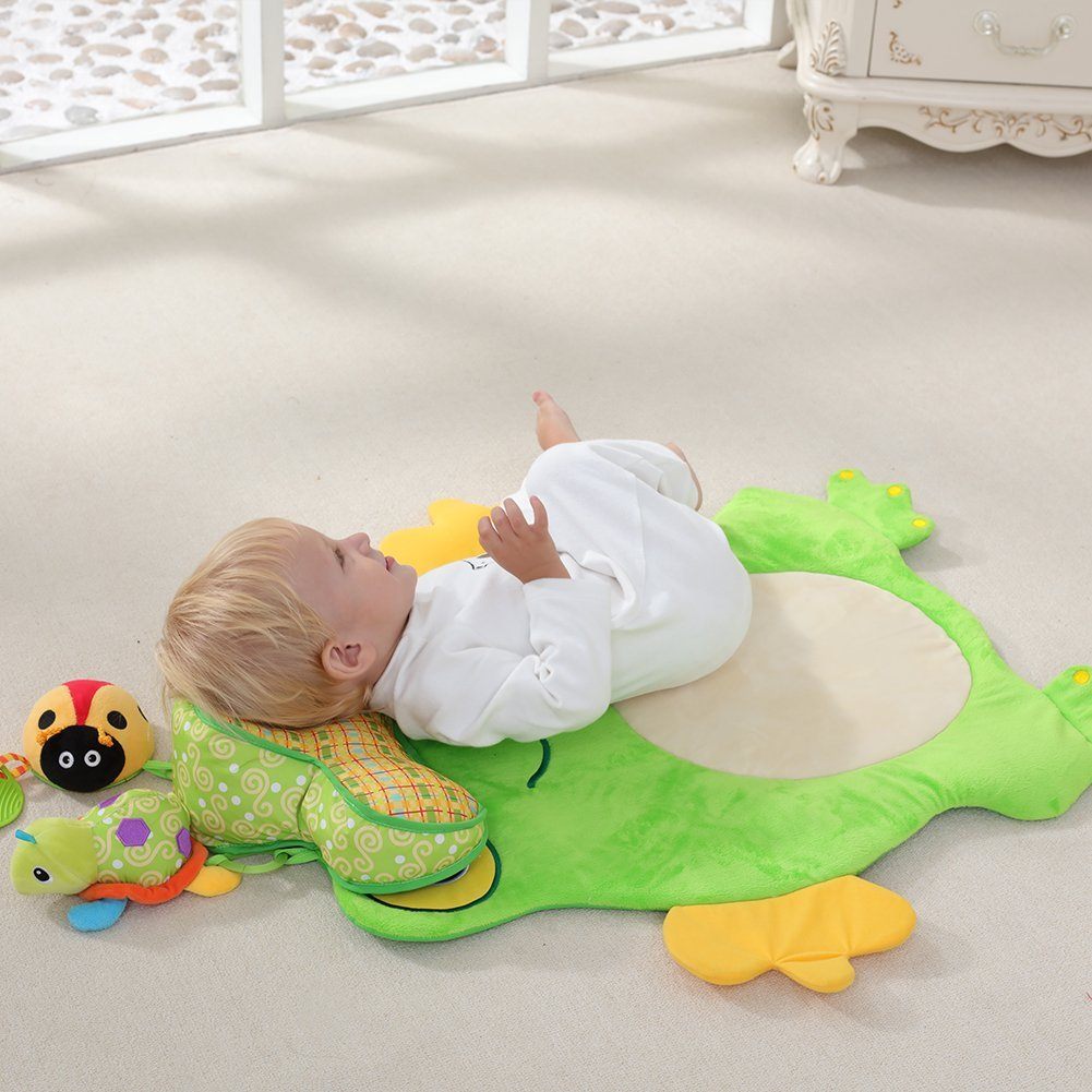 Cute Frog Baby Mat Plush Crawling Playmat Carpet for the floor Baby Gym Activity Rug Play Mat Lovely Cartoon Animal Designs for 0-3 Years Old Babies Infants Toddlers