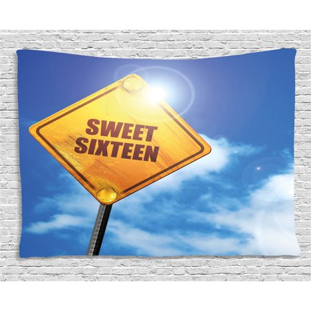 16th Birthday Decorations Tapestry, Sweet Sixteen Road Traffic Sign under Cloudy Sky Symbol Print, Wall Hanging for Bedroom Living Room Dorm Decor, 60W X 40L Inches, Blue Marigold, by Ambesonne](16th Birthday Decorations)