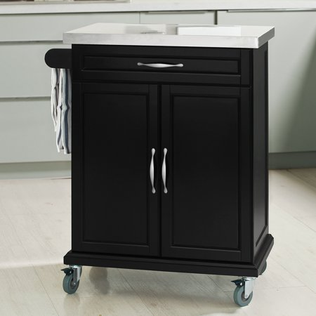 Haotian Fkw13 Sch Wood Kitchen Cabinet Storage Trolley Cart With Stainless Steel