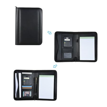 Portable Professional Business Portfolio Padfolio Folder Document Case Organizer A5 PU Leather Zippered Closure with Calculator Card Holder Memo Note Writing Pad - image 6 of 7