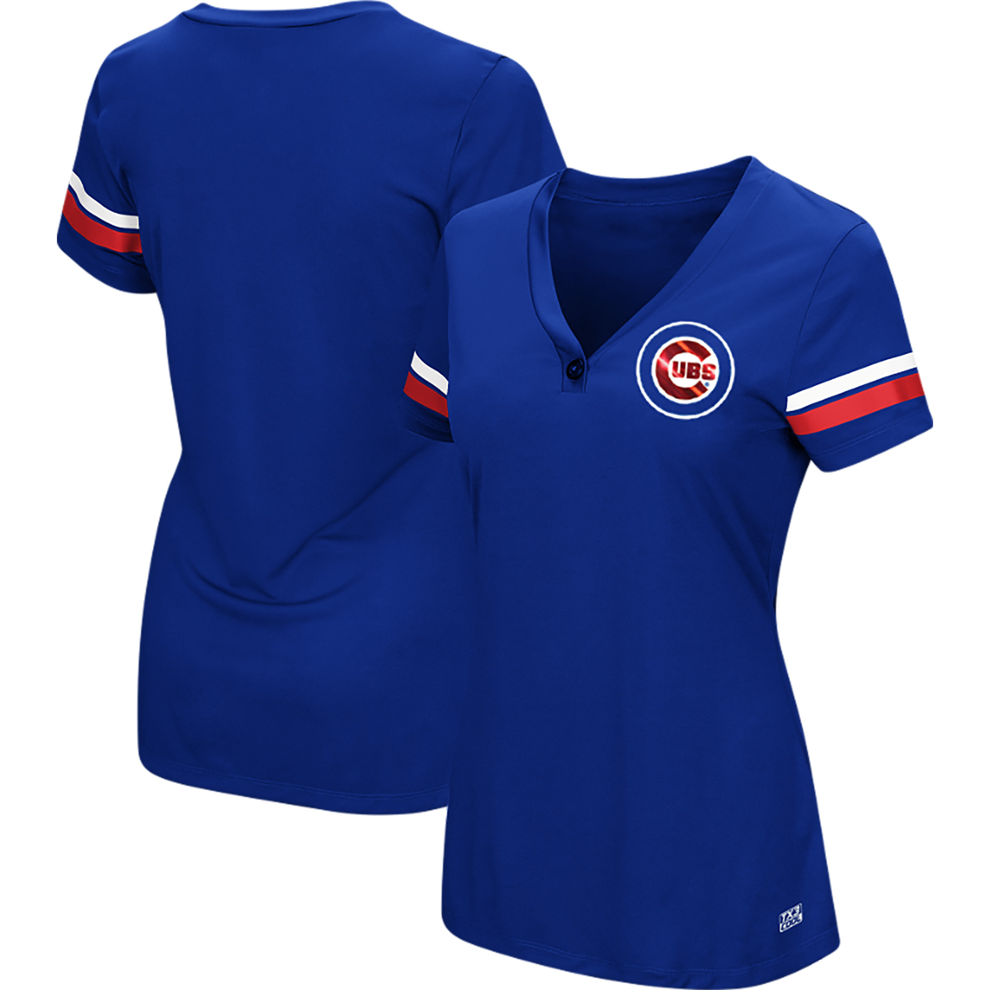 Women's Majestic Royal Chicago Cubs Plus Size Sparkling Fun Button V-Neck T-Shirt