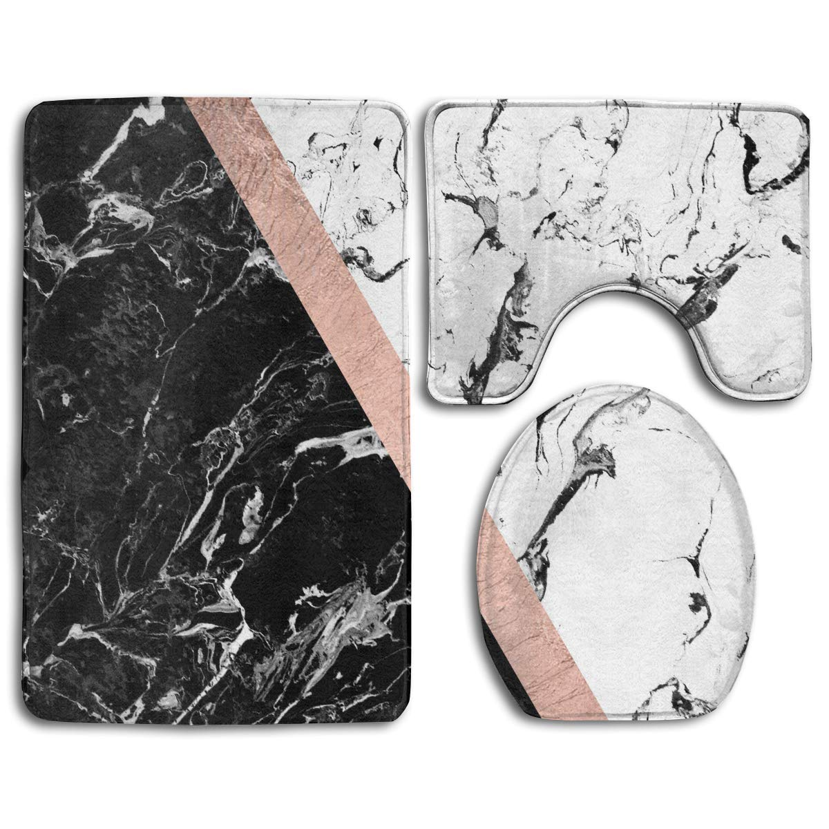 Chaplle Chic Black White Marble Color Block Rose Gold 3 Piece Bathroom Rugs Set Bath Rug Contour Mat And Toilet Lid Cover Walmart Com Walmart Com