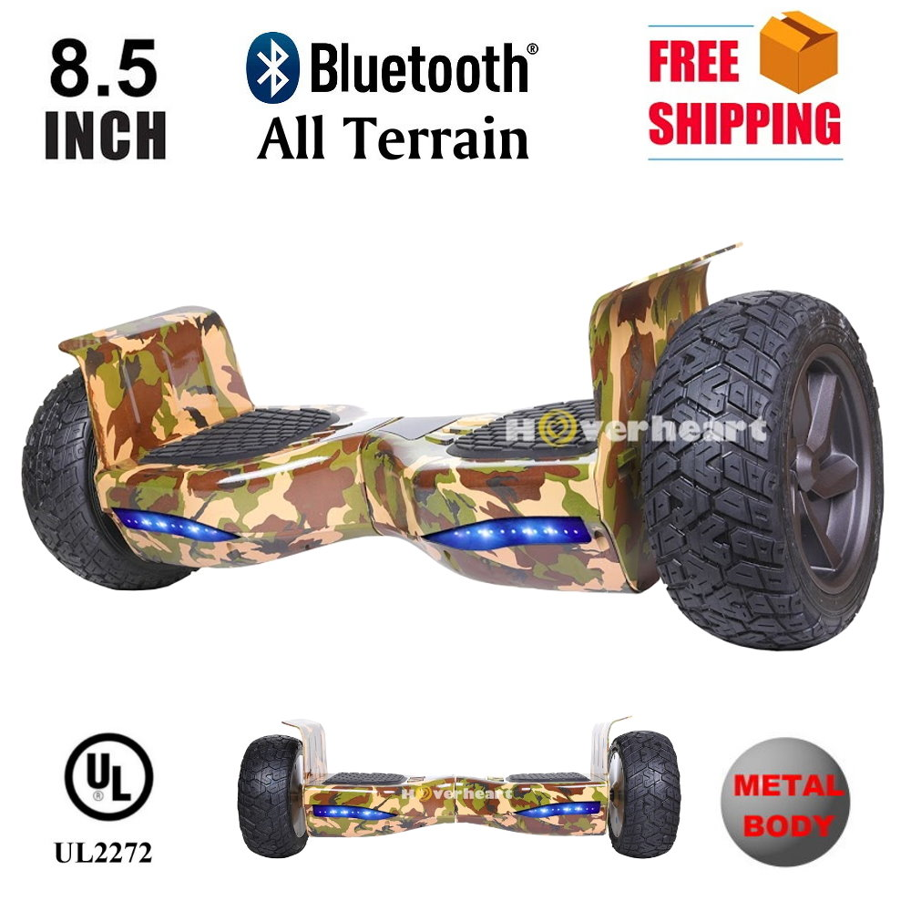 """Hoverboard 8.5"""" Metal All Terrin Bluetooth Speaker Self Balancing Wheel Electric Scooter Camouflage by"""