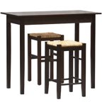 Wood Mercer Double Drop Leaf Table With 2 Stools