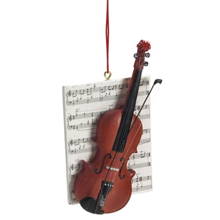 1 X Violin with Sheet Music Resin Hanging Christmas Ornament - Size 4.25 in. - Mini Resin Halloween Ornaments