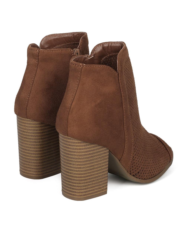 Textured Faux Suede Peep Toe Block Heel Ankle Bootie HE86