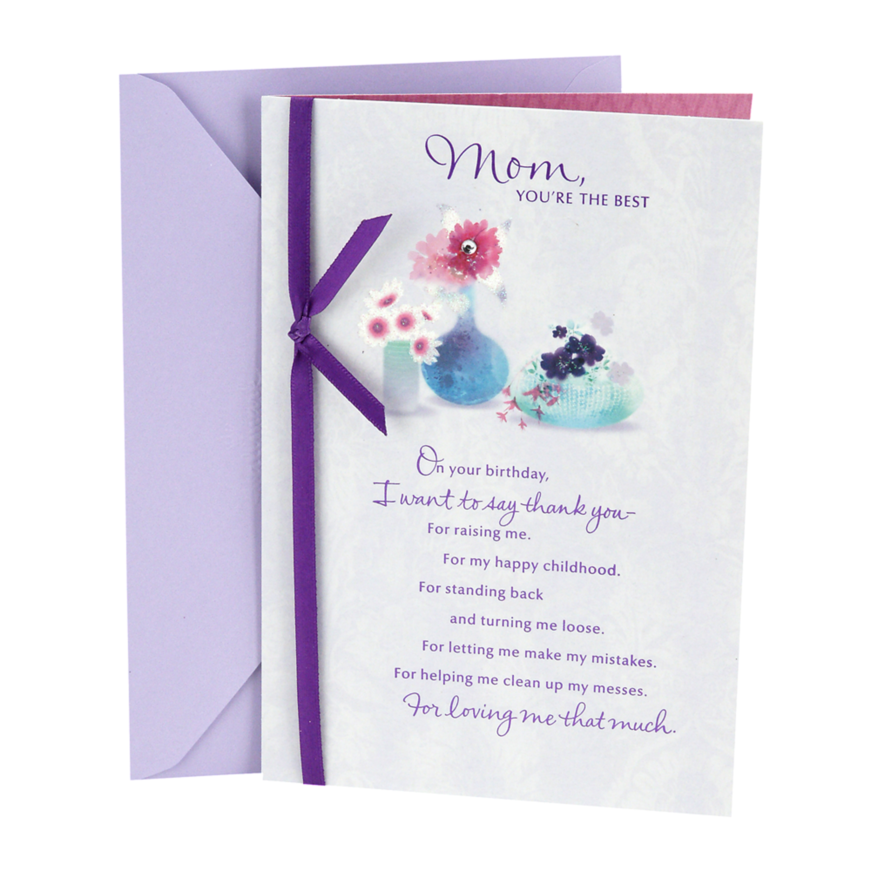 Hallmark Birthday Greeting Card to Mother (Flowers with Vases)