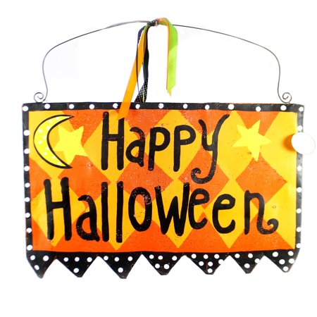 Peri Woltjer LIT HAPPY HALLOWEEN SIGN DOOR Metal Lights Up 2020170617 (Peri Woltjer Halloween)