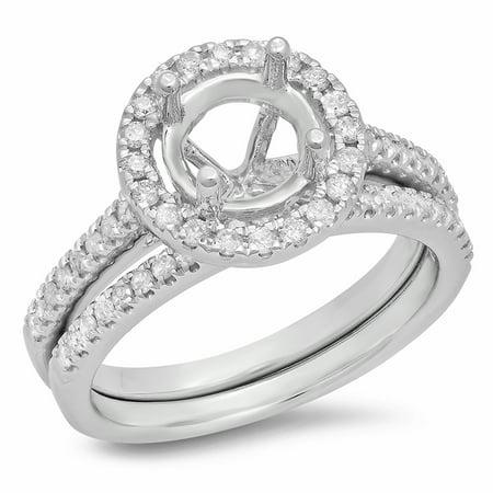 0.50 Carat (ctw) 10K White Gold Round Diamond Ladies Halo Style Bridal Semi Mount Engagement Ring With Matching Band Set