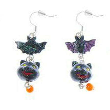 Bat & Black Cat Halloween Glitter Dangle Earrings by Ganz (Ganz Halloween Jewelry)