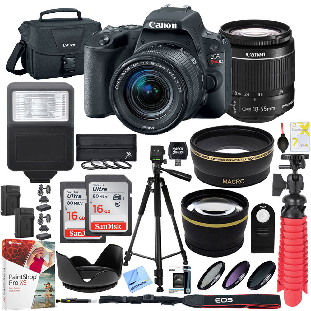 Canon EOS Rebel SL2 24MP SLR Digital Camera w/ EF-S 18-55mm IS STM Lens Black with Two (2) 16GB SDHC Memory Cards (32GB total) Plus Triple Battery Tripod Cleaning Kit Accessory Bundle