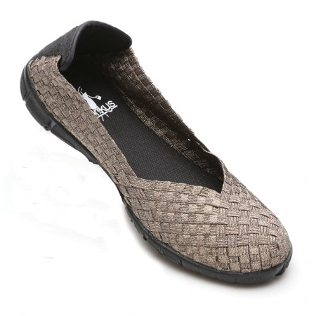 Bronze Satin Footwear - Women's Stretchy Weave Slip On Ballet Flats Shoes - Silver Bronze Black Or Multi-Colored