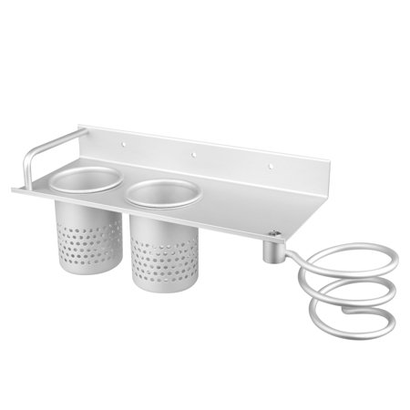 Upgraded Hair Dryer Holder with Towel Hooks and Cup, Wall Mount Hair Dryer Hanging Rack, Spiral Blow Dryer Holder, Aluminum Hair Styling Stand Washroom Accessories Storage Organizer