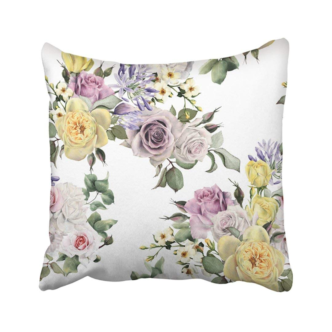 WOPOP Colorful Abstract Floral Pattern With Roses Watercolor Green Accent Arrangement Beautiful Pillowcase Pillow Cover 18x18 inches