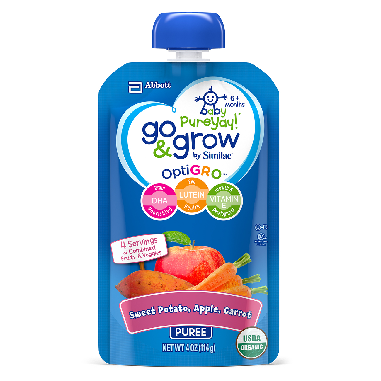 Go & Grow by Similac Pouches with OptiGRO, Sweet Potato, Apple, Carrot Puree, For 6+ Months, Organic Baby Food, 4 ounces, Pack of 6