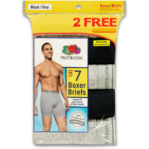 Bonus Pack! Fruit of the Loom Men's 5+2 Free Pack Black & Grey Boxer Briefs