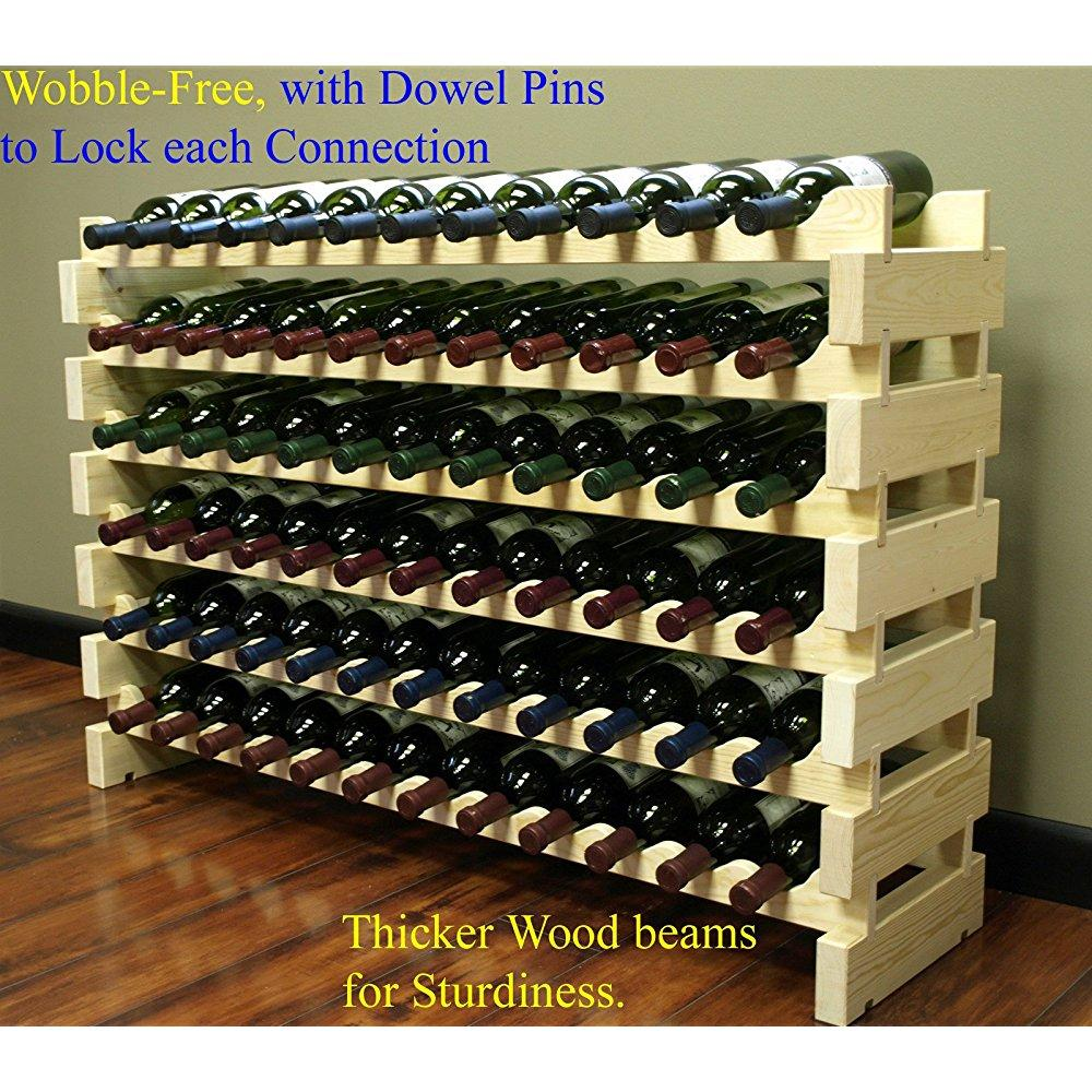 stackable wine rack stackable storage stand display shelves, wobble-free, pine wood, wn84 (72 bottle capacity)