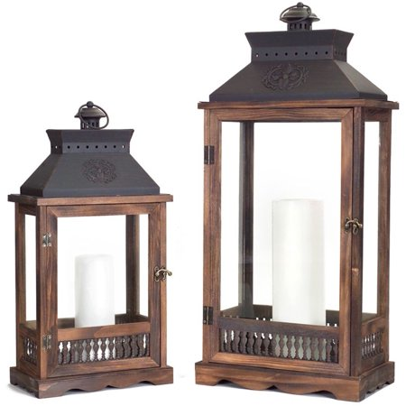 Set of 2 Wooden Country Rustic Vented Top Candle Lanterns 27.5""