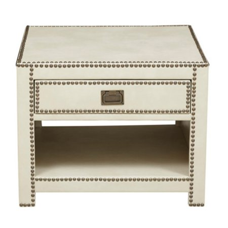 Right2Home Faux Leather Wrapped Trunk Style End Table - Chester Ivory - Leather Trunk Table