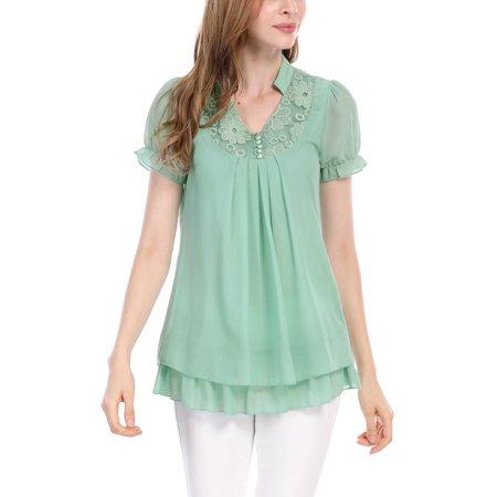 Pleated Flounce - Women Short Sleeves Flounce V Neckline Pleated Tunic Tops