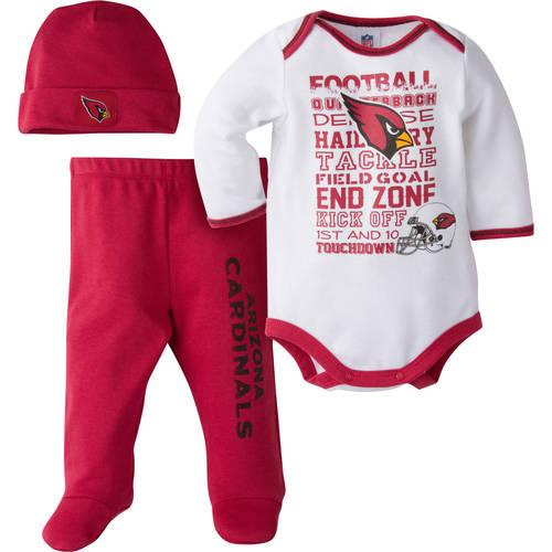 NFL Arizona Cardinals Baby Boys Bodysuit, Pant and Cap Outfit Set, 3 - Piece