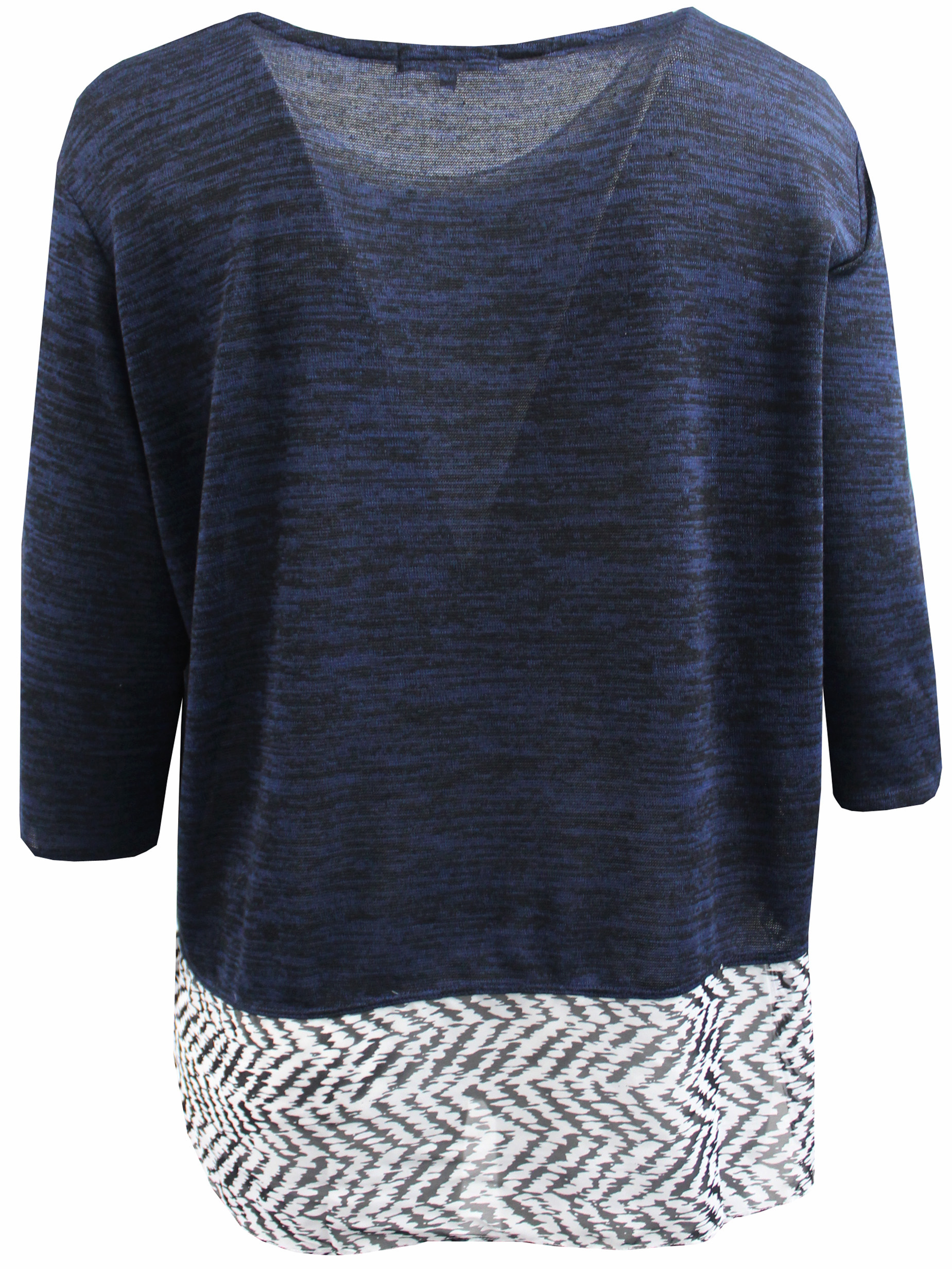 Dreamer P - Plus Size Women Two Tone Color Light Weight Knit Sweater