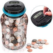 Coin Counting Jar,Digital Piggy Bank Coin Savings Counter LCD Counting Money Jar Change
