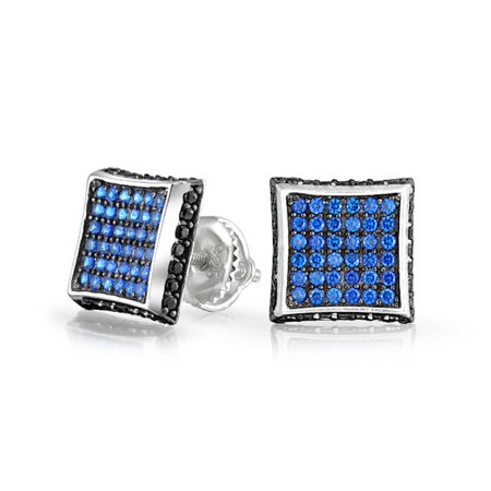 Black Blue Cubic Zirconia Micro Pave CZ Square Stud Earrings For Men Simulated Sapphire Sterling Silver Screwback 9MM