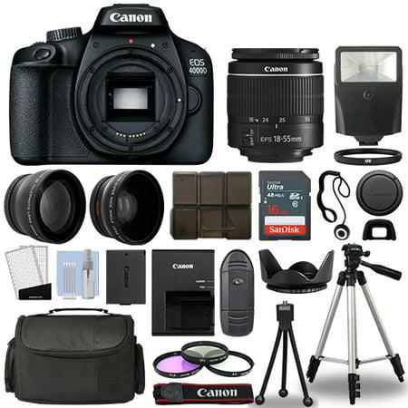 Canon EOS 4000D / Rebel T100 SLR Camera + 3 Lens Kit 18-55mm+ 16GB+ Flash & More ()