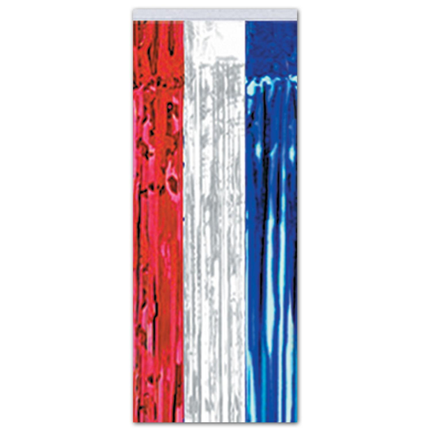 Pack of 6 Patriotic Red, White and Blue Hanging Gleam'n Curtain Party Decorations 8'