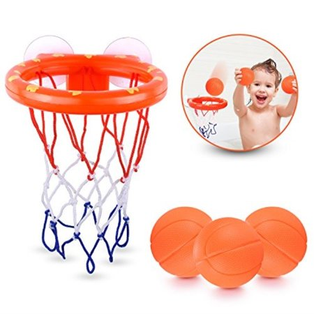 briteNway Fun Basketball Hoop & Balls Playset for Little Boys & Girls | Bathtub Shooting Game for Kids & Toddlers | Suctions Cups That Stick to Any Flat Surface + 3 Balls Included (Little Girl Basketball)