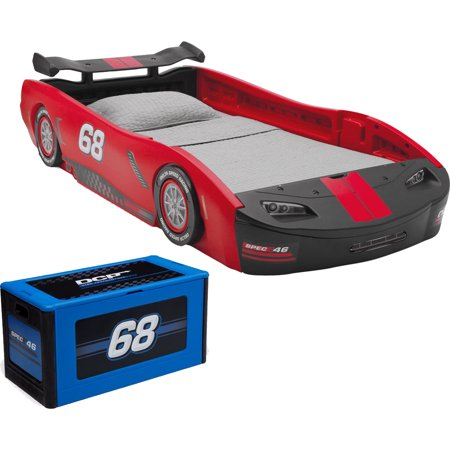 - Turbo Race Car Twin Bed & Toy Box - Bedroom Value Bundle
