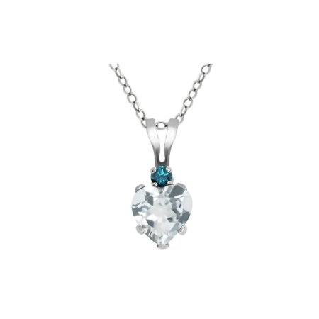 0.41 Ct Heart Shape Sky Blue Aquamarine Blue Diamond 925 Sterling Silver - Blue Diamond Snowflake Pendant