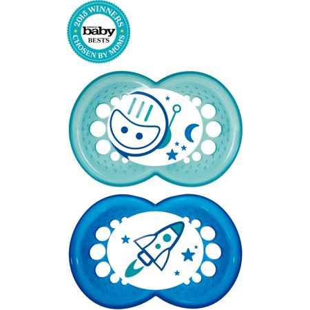MAM Glow In the Dark Pacifiers, Baby Pacifier 6+ Months, Best Pacifier for Breastfed Babies, Night? Design Collection, Boy, 2-Count