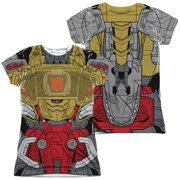 Trevco Sportswear HBRO244FB-JSPP-1 Transformers & Grimlock Costume Front & Back Print-Short Sleeve Juniors Poly Crew T-Shirt, White - Small