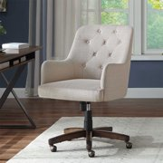 Better Homes & Gardens Tufted Office Chair, Natural Fabric Upholstery and Espresso Wood Base