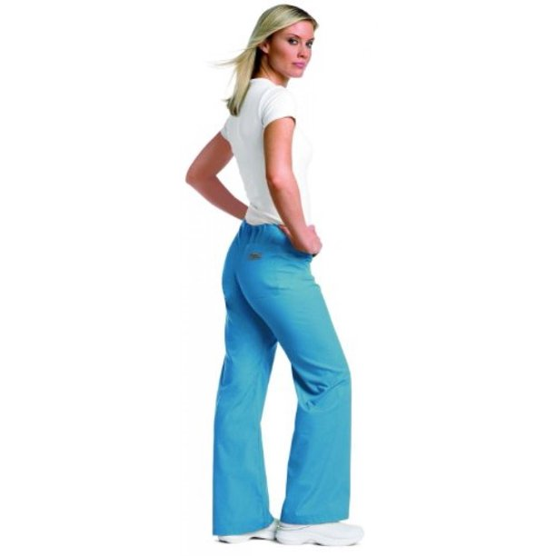 Urbane Essentials Women's Boot Cut Scrub Pants Large Arctic Ice
