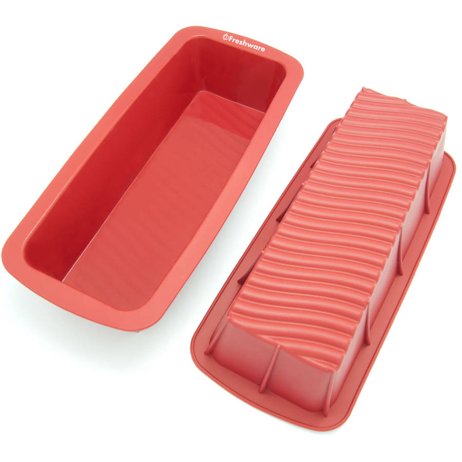 """Freshware 12.5"""" Large Silicone Mold/Loaf Pan for Soap, Cake and Bread, CB-103RD"""