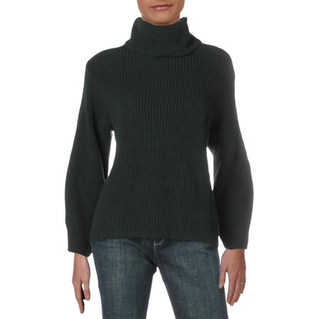 Vince Camuto Womens Cotton Ribbed Turtleneck Sweater Green XS