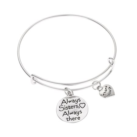 Cute Bangle (Cute Friendship Sister Adjustable Women Letter Bracelet Girl Round Shape Pendant Bangles Lady Gift)