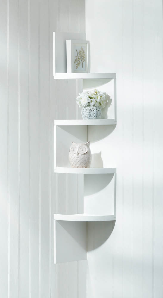 Corner Shelf Unit Storage Rustic White 4 Tier Wall